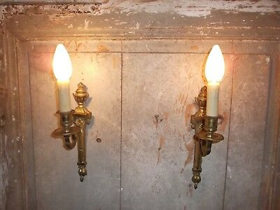 French a pair of patina gold bronze wall light sconces exquisite  antique