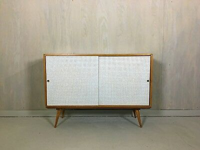 Mid Century Paul McCobb Style Sliding Door Cabinet with Base