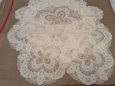 Vintage Set of Lace and Embroidered Place Mats