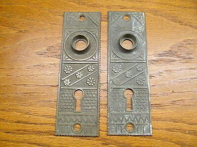 "Pair Old "" Linde"" Brass..bronze ??door Plates...backplates...escutcheons..ornate"