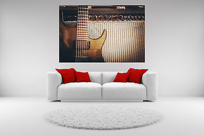 Electric Guitar Amp Canvas Giclee Print Vintage Unframed Home Decor Wall Art