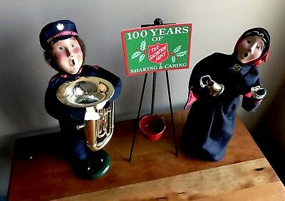 BYERS CHOICE CAROLERS..2000 SALVATION ARMY BELL RINGERS &  w/TUBA and RED KETTLE