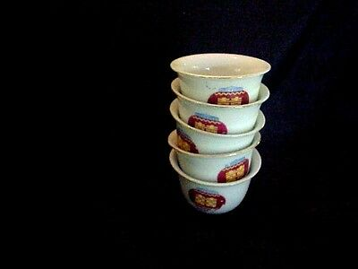 "5 sake Cups Chinese Lantern design Asian Chinese gold edge excellent 2"" x 1 1/2"""
