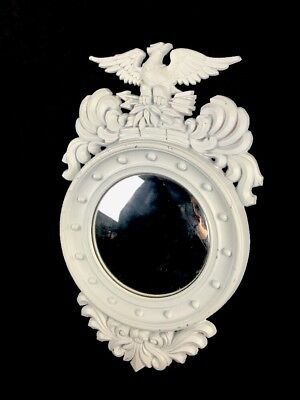 Vintage Used American Federal Eagle Metal Aluminum Sexton Old Convex Wall Mirror