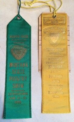 Antique Lot of Two 1926 1928 Montana State American Poultry Show Prize Ribbons