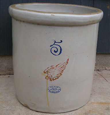 Antique Vintage 5 Gallon Red Wing Union Stoneware Crock, No Cracks!