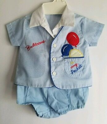 Vintage Infant Baby Boy BLUE Balloons Outfit Set 3-6 Months Mayfair