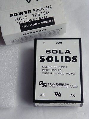 New Sola Solids 84-15-2110 Dual Power Supply Input 115 Vac Output ±15Vdc 100 Ma