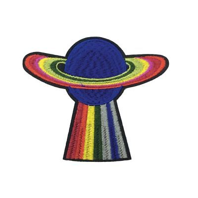 Rainbow Planet (Iron On) Embroidery Applique Patch Sew Iron Badge