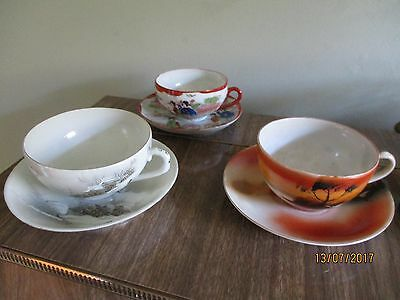 3 Vintage eggshell china oriental tea cups/bowls and saucers