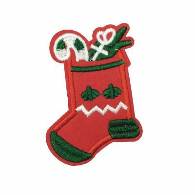 Christmas Stocking (Iron On) Embroidery Applique Patch Sew Iron Badge