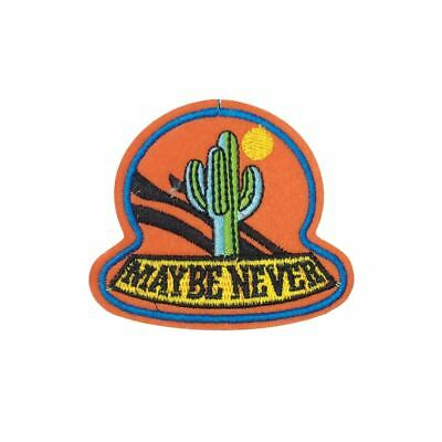 Maybe Never Cactus (Iron On) Embroidery Applique Patch Sew Iron Badge