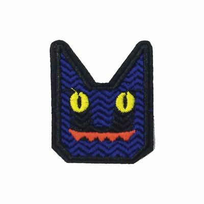 Blue Angular Cat (Iron On) Embroidery Applique Patch Sew Iron Badge