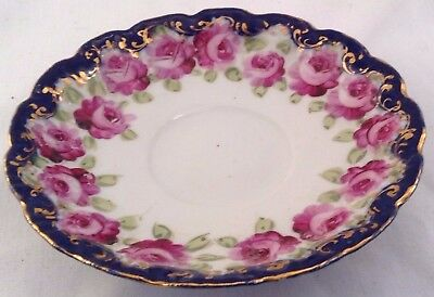 Saucer With Hand Painted Rose Border, With Navy Blue Edging And Gold Accents