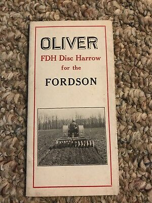 Early 1900's Oliver Fdh disc harrow For Fordson Tractors  Pamphlet As Is