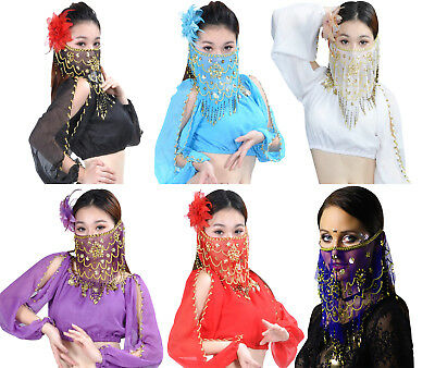 Women's Charming Belly Dance Sequins Tribal Face Veil With Beads Holiday Sale!