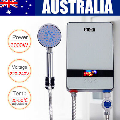 Portable Electric Hot Water Heater Bathroom Shower Tankless Hot Water System AU
