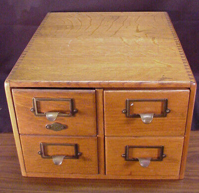 Vintage Oak 4 Drawer Library Index Card File Cabinet Dovetailed