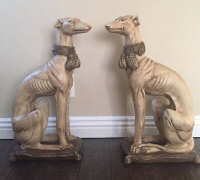 Life-Size Whippet/Greyhound Dog Painted Decorative Statue Scrolled Base PAIR