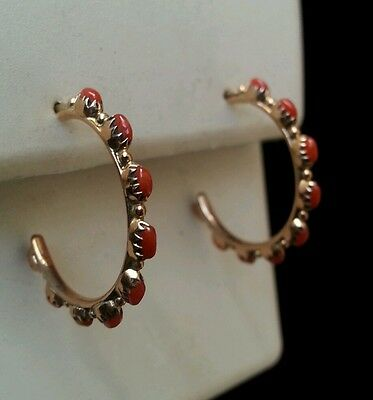 14kt Yellow Gold Zuni Needlepoint Hoop Earrings Genuine Coral Hand Made