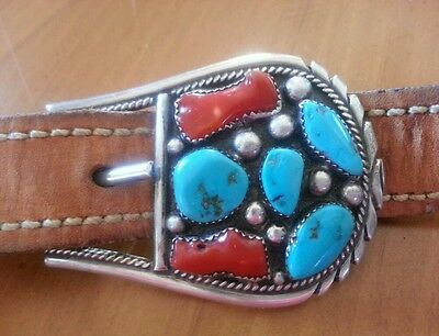 Sterling Silver Texas Ranger Buckle 3 pc Set Signed T Moore Turquoise n Coral