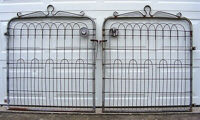 Pair of Vintage Sears Fence Gates–Twisted Wire with top Scroll Work-Weathered