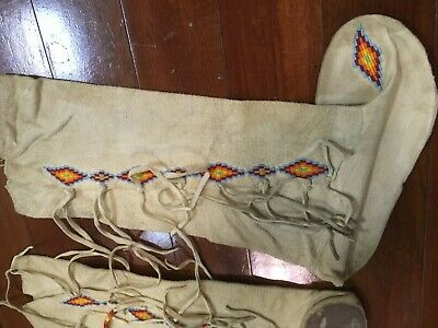 Long Beaded Native American Leather Moccasin Boots