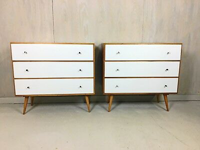 Pair of Paul McCobb Style Dressers with Painted Drawers Bureaus