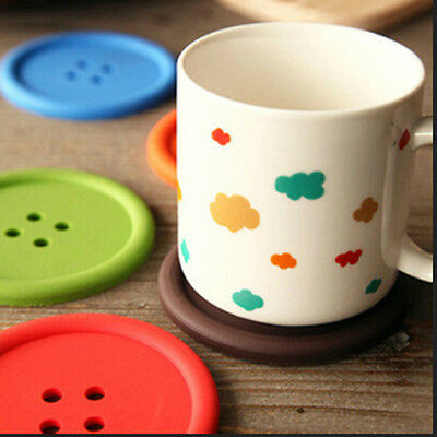 Silicone Button Coasters Coffee Mat Pads Place Mat Holder Tea Cup Cushion XC