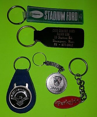 5 Ford Dealer Thunderbird Zephyr Leather Rubber Metal Key Chains