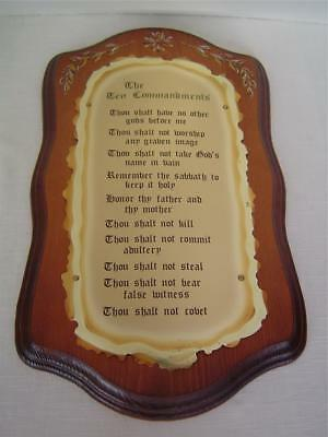 Home Interior THE TEN 10 COMMANDMENTS Bible Wood & Brass Wall Picture Plaque Vtg