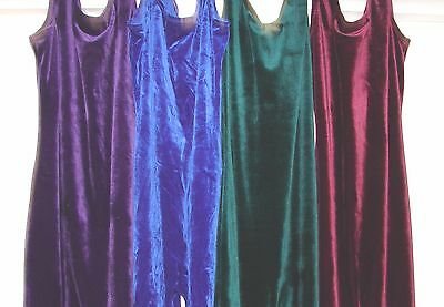 Plush Stretch Velvet Unitard catsuit Full Leotard SZ MD NEW U CHOOSE any 1 COLOR