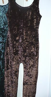 Brown chocolate SM Crushed velvet Tank Unitard Leotard w/ legs very STRETCHY NEW