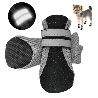 4pcs/pack Black Dog Shoes Soft Mesh Non Slip Boots Booties Socks for S/M/L Dogs