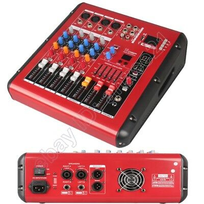 MICWL 4 Channel Radio Bluetooth Audio Mixer Mixing Console 1600W Power Amplifier