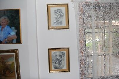 A pair of framed & mounted Norman Lindsay prints - Devils & Witches Series
