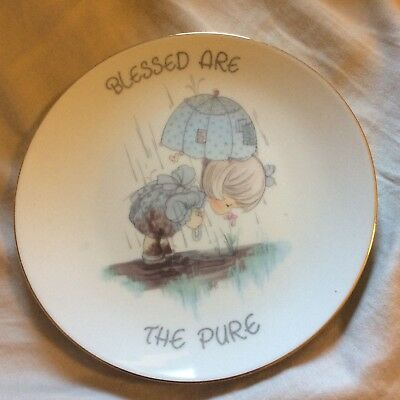 Vintage Pecious Moments Plate Blessed Are The Pure