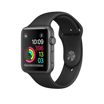 Apple Watch Sport 42 mm In Box Space Gray Aluminum Case Black Band Model A1554