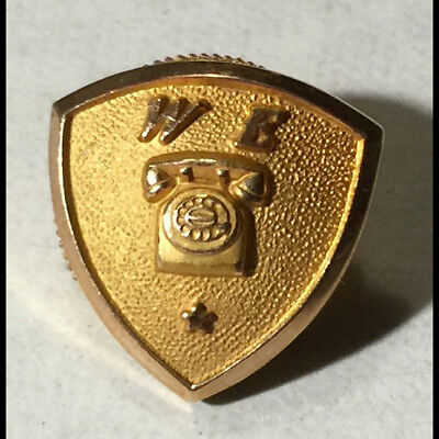 Original vintage Western Electric Bell Telephone employee service pin - 10k GOLD