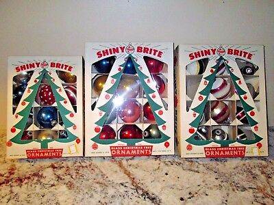 42~vintage Mercury glass Christmas ornaments~Shiny Brite, USA~Indents, Stenciled