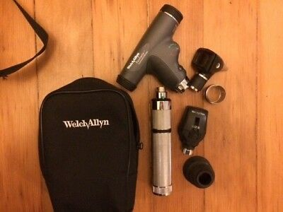 Carry bag with Welch Allyn Opthalmoscopes, BP cuffs, Stethoscope, etc.