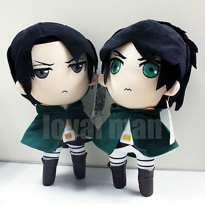 "Cute Eren Jaeger & Levi Rivaille 12"" Soft Plush Doll New Attack On Titan 2pcs"