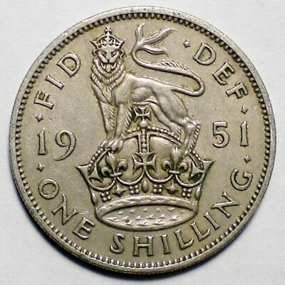 1951 Great Britain One Shilling Coin UK