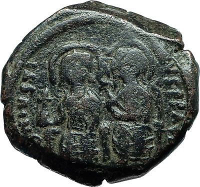 JUSTIN II & SOPHIA 565AD Constantinople Follis Ancient Byzantine Coin i66065