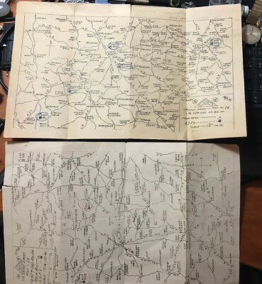 (2) original 1945 US 7th Army Ammo maps for Germany  rare WWII