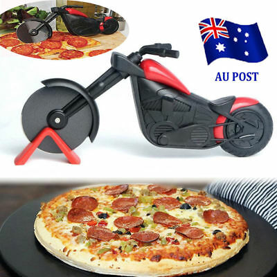 Non-stick Pizza Wheel Cutter Chopper Slicer Kitchen Tools Motorcycle Stand SN