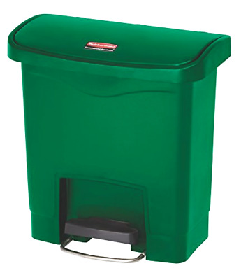 Rubbermaid Commercial Slim Jim Front Step-On Trash Can, Plastic, 4 Gallon, Gree