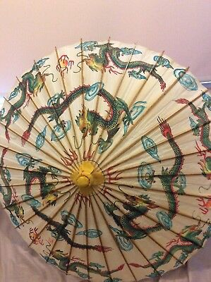 Vintage Bamboo & Paper Chinese Umbrella - Dragon Design