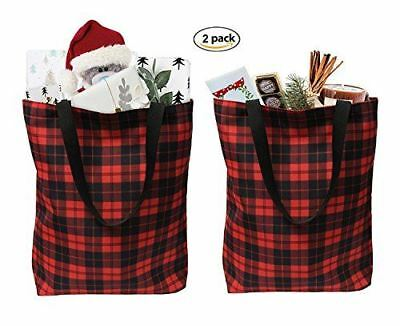 Plaid Everyday Shopping Bag Tote Large for Grocery, Gift  Bag (Set of 2)