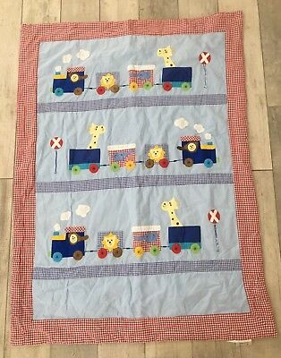 Morgan And Finch Baby Cot Quilt Blanket Train Animals